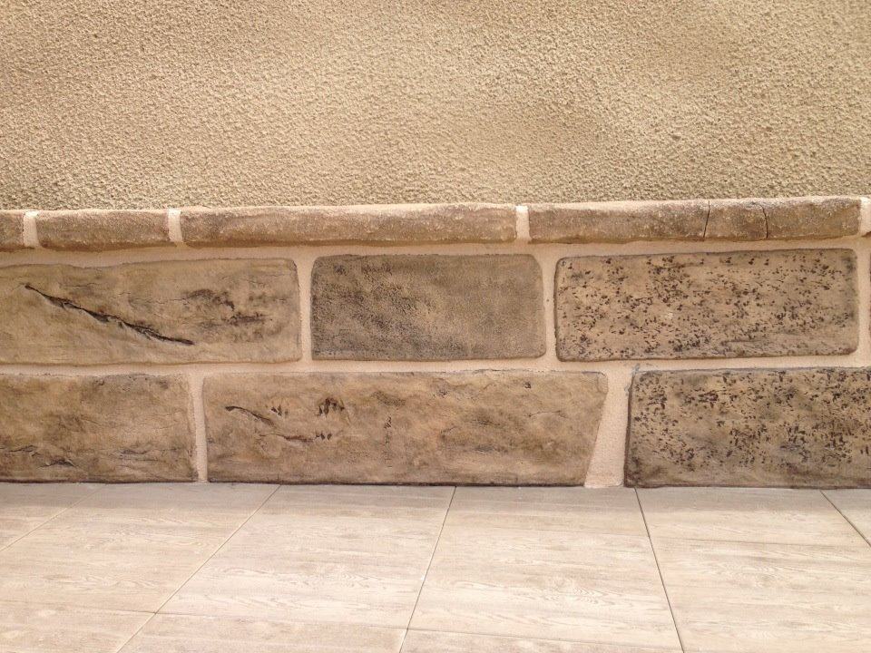 zcalo decorativo con efecto de imitacin a piedra